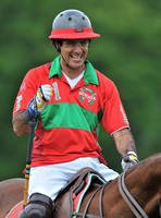 Close-up of polo player Ahmad Aboughazale on horseback