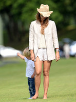 Polo fashion woman and child treading in